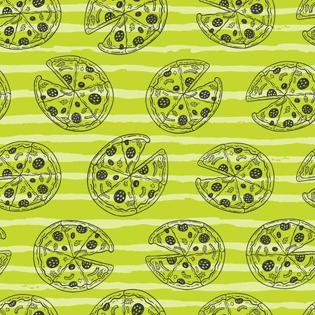 手描きの落書きピザとシームレスなベクトルパターン
