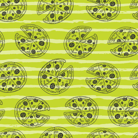 Seamless vector pattern with hand drawn doodle pizza