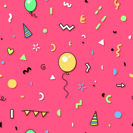 Seamless abstract pattern in trendy 80s memphis design style. Funny birthday party background. Ilustração