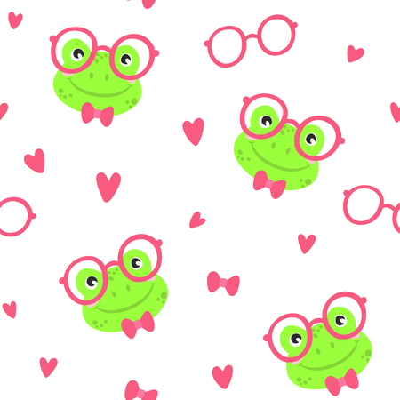 Funny cute frogs, vector seamless pattern. Çizim