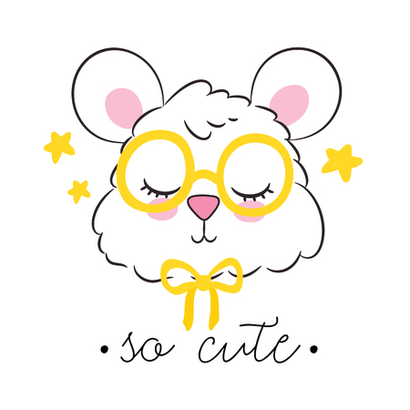 Vector illustration with cute humster. Kids print, nursery room decoration design.