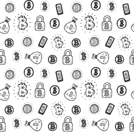 seamless pattern with hand drawn doodle bitcoin icons