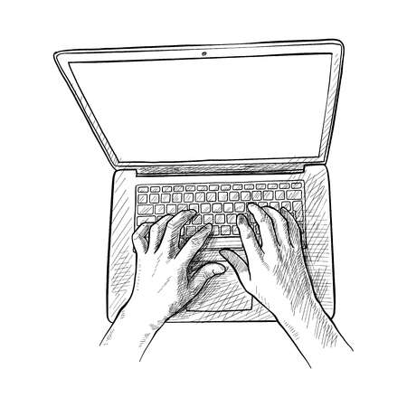 Sketch illustration of a man hands are working on a laptop computer. Top view. 일러스트