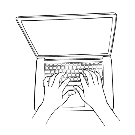 Sketch illustration of a man hands are working on a laptop computer. Top view. Illustration