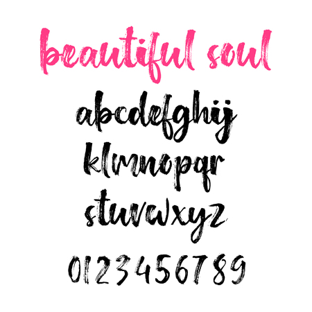 Hand drawn typeface set isolated on white. Typography alphabet with numbers for your designs: logo, card, wedding invitation. Brush painted vector font.