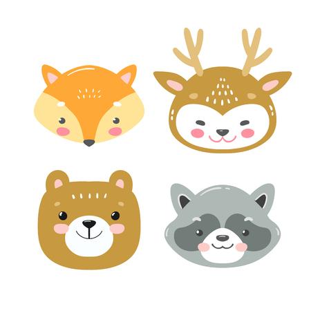漫画スタイルでベクター森林動物のセット。かわいいスマイリーキツネ、鹿、クマとラクーンの顔