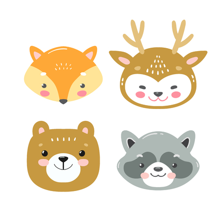 Set of vector woodland animals in cartoon style. Cute smiley fox, deer, bear and racoon faces