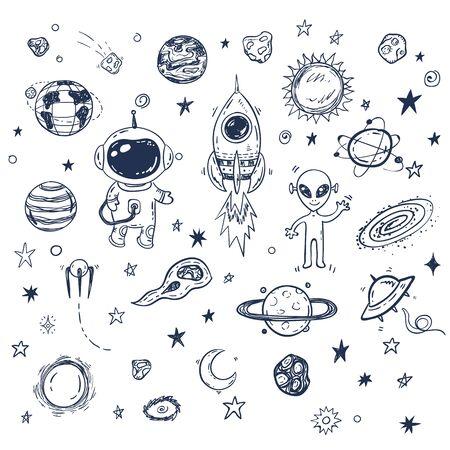 Doodle-Raumfahrt-Vektor-Set mit Rakete, Astronaut, Alien, Planeten, Sternen. Handgezeichneter Druck oder Poster, Elemente Vektorgrafik