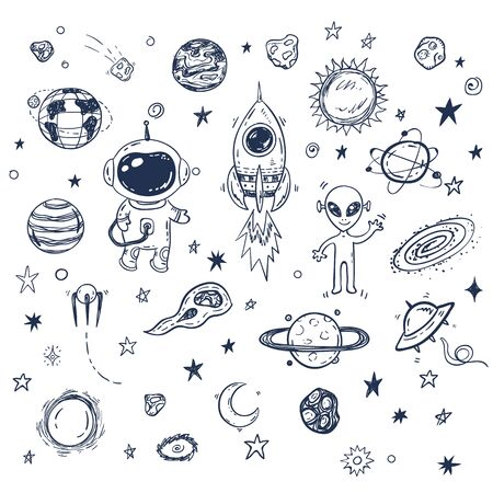 Doodle space travel vector set with rocket, astronaut, alien, planets, stars. Hand drawn print or poster, elements Vektorové ilustrace
