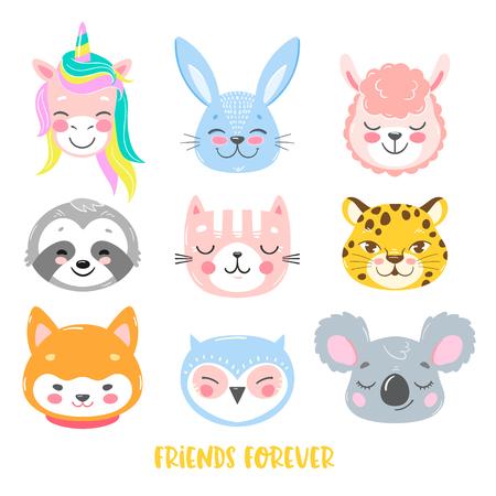 Conjunto de animales vectoriales en estilo de dibujos animados. Lindo unicornio sonriente, conejito, llama, perezoso, gato, leopardo, perro, búho y caras de koala