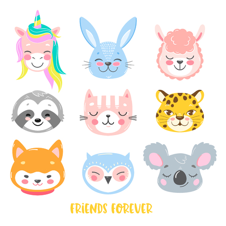 Set of vector animals in cartoon style. Cute smiley unicorn, bunny, llama, sloth, cat, leopard, dog, owl and koala faces Ilustração