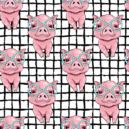 Seamless vector pattern with cute little piggy in fashionable glasses.
