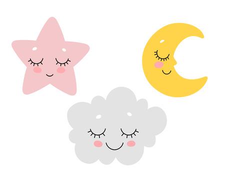 Vector illustration of cute sleeping cloud, moon and star. Scandinavian nursery print design.