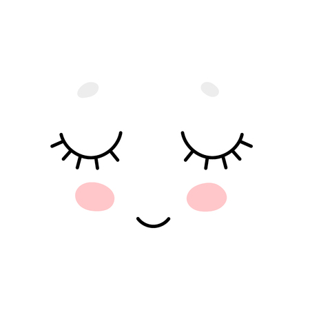 Cute cartoon face, Scandinavian print or poster design
