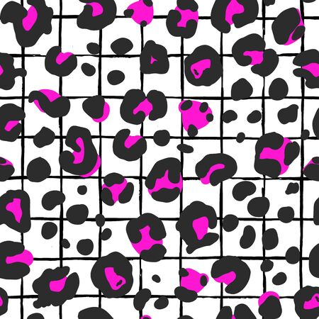 Trendy animal skin, leopard print, black with neon pink color on a abstract hand drawn background. Fashion print, background, surface pattern design. 스톡 콘텐츠 - 133518006