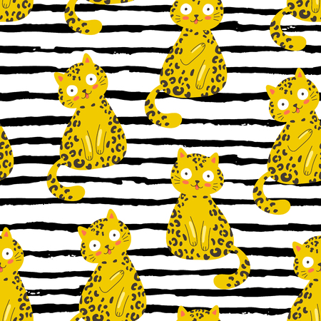 Seamless vector pattern with funny leopard cat on a black and white stripped background, fashion trendy print, t shirt, surface design