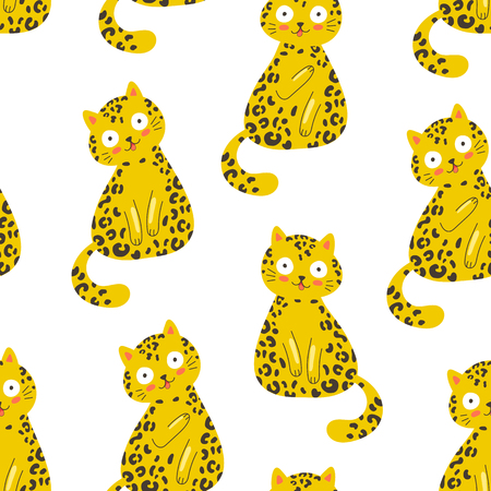 Seamless vector pattern with funny leopard cat on a white background, fashion trendy print, t shirt, surface design