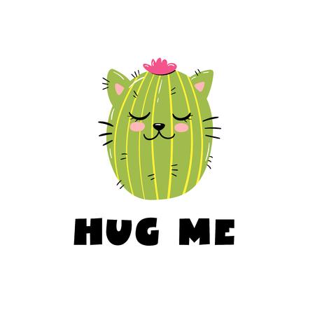 Cactus cat print. Kids t shirt design. Hug me slogan. Vector Illustration
