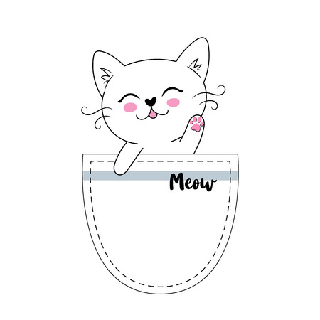 Little happy cat in the pocket, adorable cute kitten simple vector illustration. Can be used for greeting card, kids t shirt design, print or poster Foto de archivo - 108956074