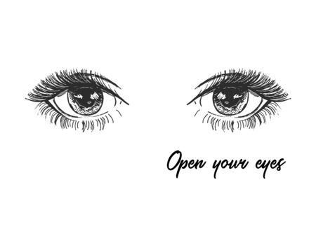 Vector art design, open eyes with long lashes, beautiful eyelashes. Fashion illustration, tee shirt slogan design
