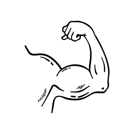 Bodybuilder muscle flex arm vector illustration