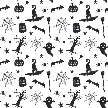 Seamless vector pattern with hand drawn doodle halloween symbols Stock Illustratie