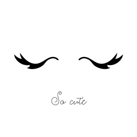 Cute print with cartoon closed eyes with long eyelashes Archivio Fotografico - 133518012