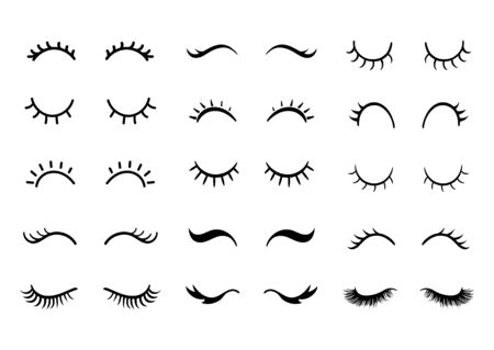 Cute cartoon closed eyes set. Vector Eyelashes icon collection.