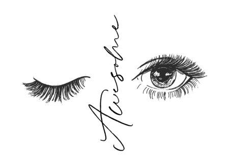Vector art design, closed and open eye with long lashes, beautiful eyelashes. Fashion illustration, tee shirt slogan design