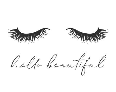 Diseño de arte vectorial, ojos cerrados con pestañas largas, pestañas hermosas. Ilustración de moda, diseño de lema de camiseta Ilustración de vector