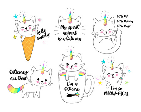 Vector illustration of a little cute white cat unicorn or caticorn . Can be used as greeting card, sticker, kids t-shirt design, print or poster