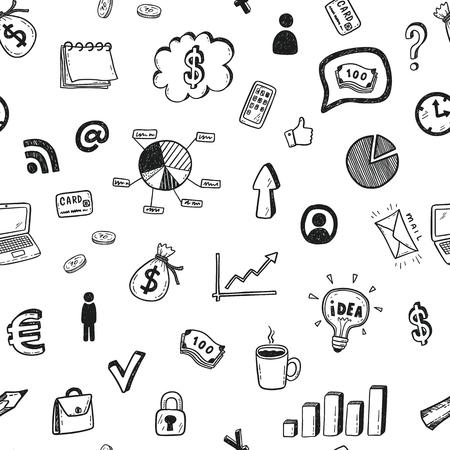 Modèle vectorielle continue avec jeu d'icônes doodle affaires dessinés à la main. Vecteurs