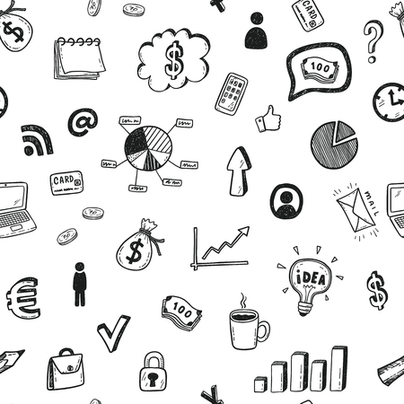 Seamless vector pattern with hand drawn business doodle icons set. 矢量图片