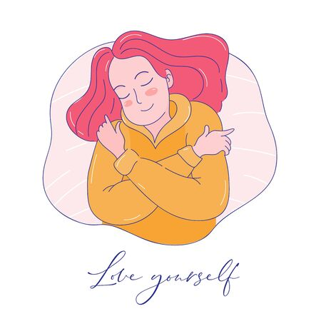 Love yourself. Illustration of a woman hugging herself.