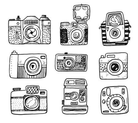 Hand drawn doodle retro photo cameras set