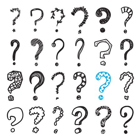 Hand drawn doodle questions marks vector set.