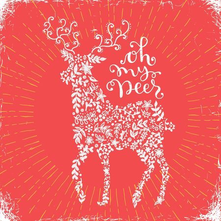 Vector illustration of a flourished  Christmas Deer silhouette and calligraphic phrase