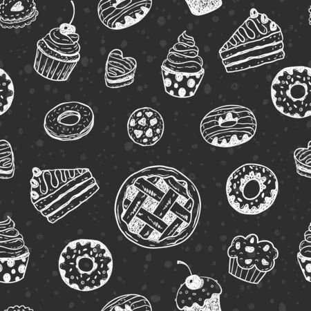 Seamless vector pattern with hand drawn doodle desserts on a blackboard