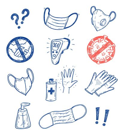 CoronaVirus Covid-19 protection vector sketch set with hand drawn face masks, gloves, antiseptic, soap etc.