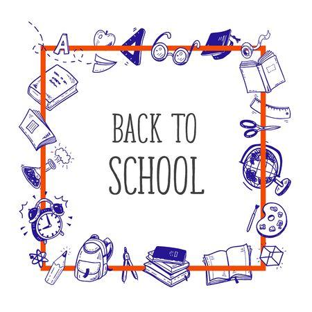Back to school tools sketch frame vector design illustration