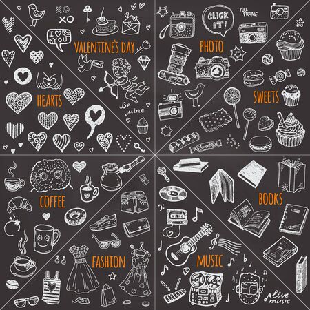Mega doodle design elements vector set. Hand drawn chalkboard illustrations: photo, sweets, books, hearts, Valentine`s day, music, fashion clothes, coffee.