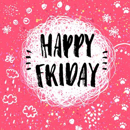 Happy Friday! hand drawn doodle lettering