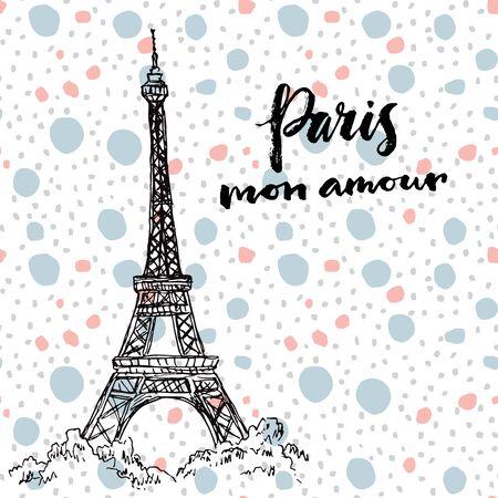 Paris, my love. Hand drawn card.