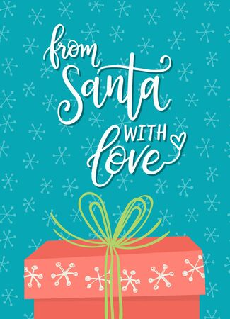 From Santa with love, Christmas greeting card, gift tag design.