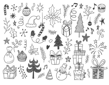 Hand drawn vector illustration set of New year and Christmas sign and symbol doodles elements. Pattern set with snowman, fir-trees, snowflakes, cakes, gift boxes.
