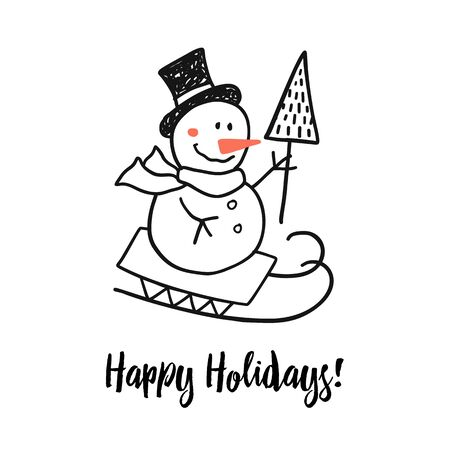 Happy holidays greeting Christmas card with funny doodle snowman