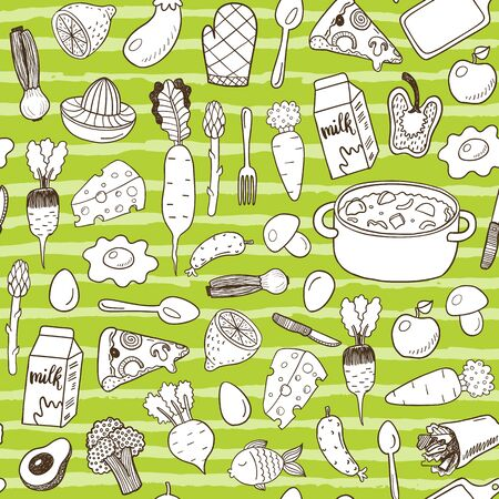 Seamless pattern with doodle food.