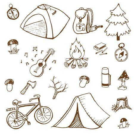 Camping doodles set