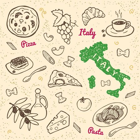 Hand drawn Italy symbols and landmarks set. Italian food.
