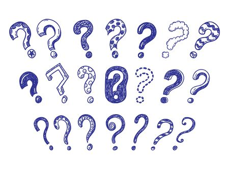 Doodle questions hand drawn illustration